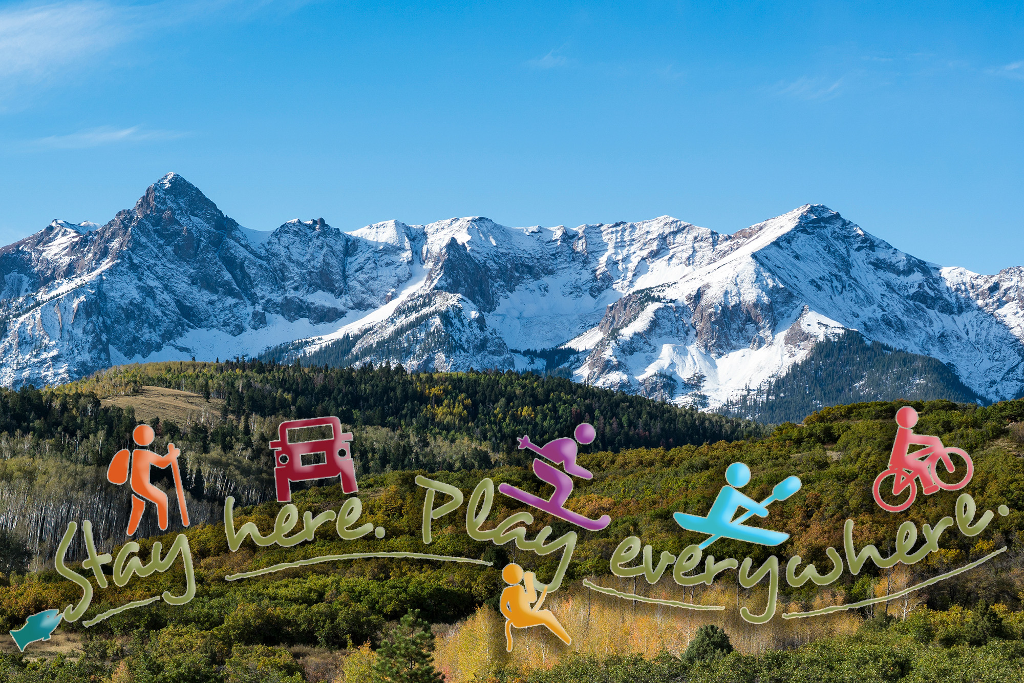 San Juan Mountains of Colorado - Stay Here, Play Everywhere Logo