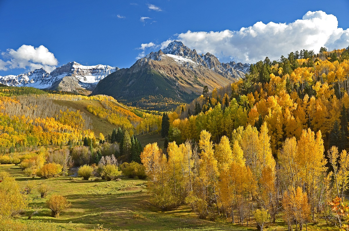 Mount Sneffels near Ridgway, CO with fall colors