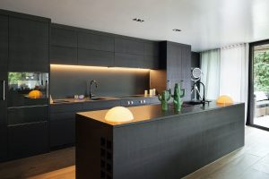 Modern kitchen with sleek black cabinets and simple design.